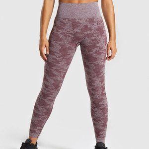 Gymshark Camo Seamless Leggings - Berry Red